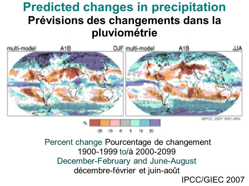 Predicted changes in precipitation Prévisions des changements dans la pluviométrie Percent change Pourcentage de changement 1900-1999 to/à 2000-2099 December-February and June-August décembre-février et juin-août IPCC/GIEC 2007