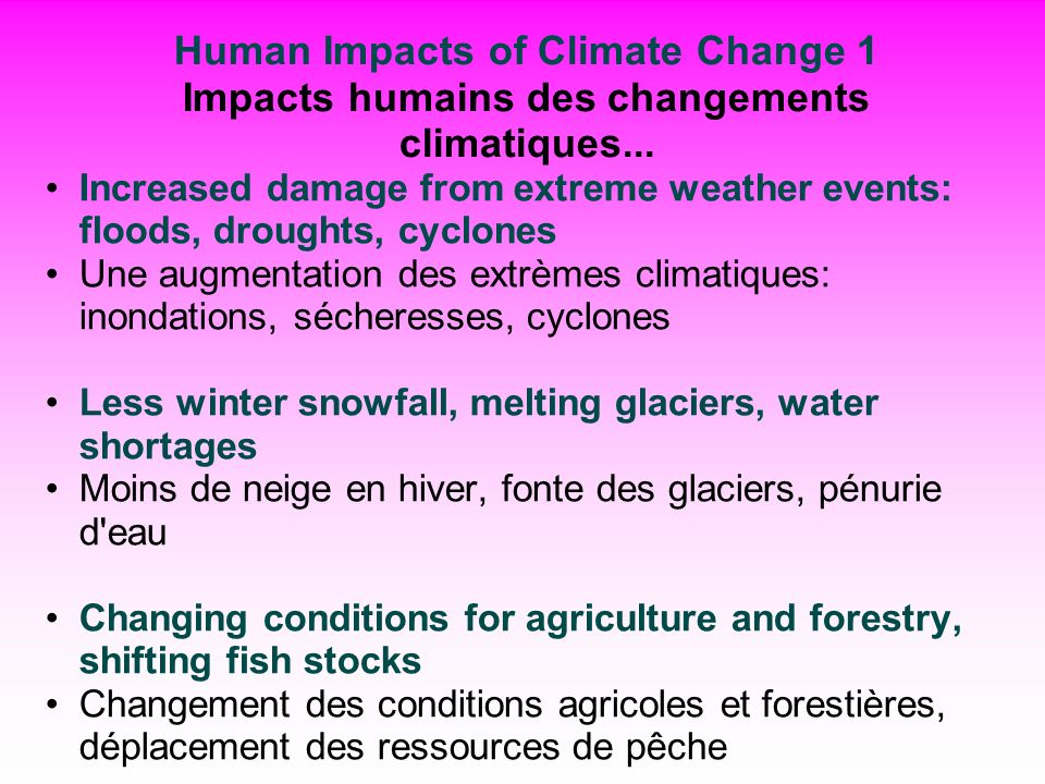 Human Impacts of Climate Change 1 Impacts humains des changements climatiques...