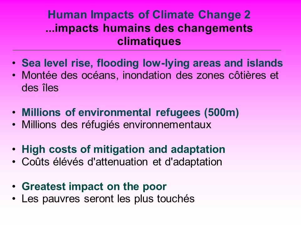 Human Impacts of Climate Change 2...impacts humains des changements climatiques Sea level rise, flooding low-lying areas and islands Montée des océans