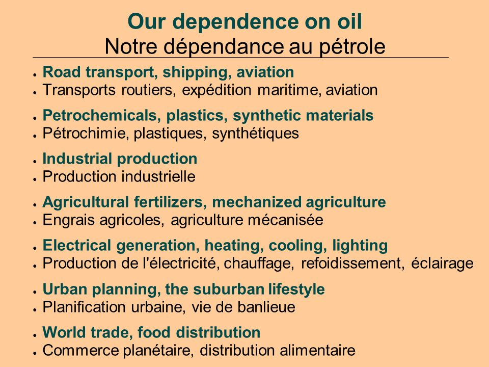 Our dependence on oil Notre dépendance au pétrole Road transport, shipping, aviation Transports routiers, expédition maritime, aviation Petrochemicals, plastics, synthetic materials Pétrochimie, plastiques, synthétiques Industrial production Production industrielle Agricultural fertilizers, mechanized agriculture Engrais agricoles, agriculture mécanisée Electrical generation, heating, cooling, lighting Production de l électricité, chauffage, refoidissement, éclairage Urban planning, the suburban lifestyle Planification urbaine, vie de banlieue World trade, food distribution Commerce planétaire, distribution alimentaire