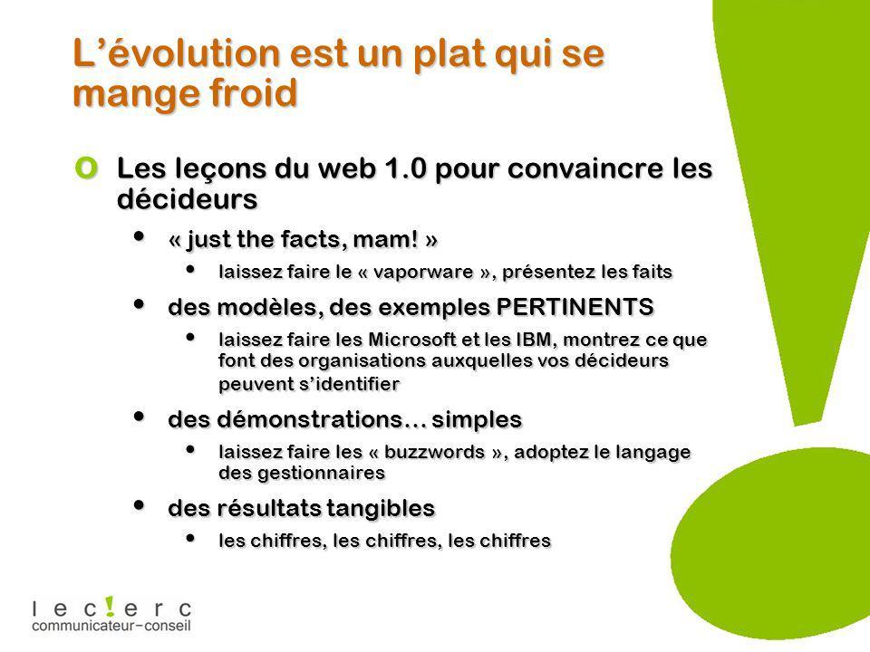 Lévolution est un plat qui se mange froid o Les leçons du web 1.0 pour convaincre les décideurs « just the facts, mam.