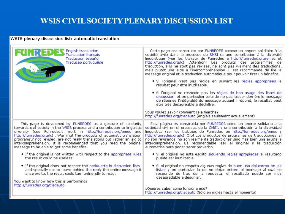 WSIS CIVIL SOCIETY PLENARY DISCUSSION LIST