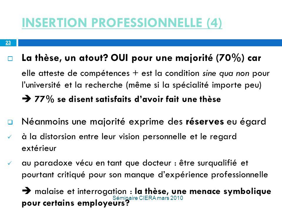 INSERTION PROFESSIONNELLE (4) La thèse, un atout.