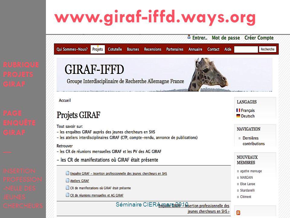 32 RUBRIQUE PROJETS GIRAF PAGE ENQUÊTE GIRAF INSERTION PROFESSION -NELLE DES JEUNES CHERCHEURS www.giraf-iffd.ways.org Séminaire CIERA mars 2010