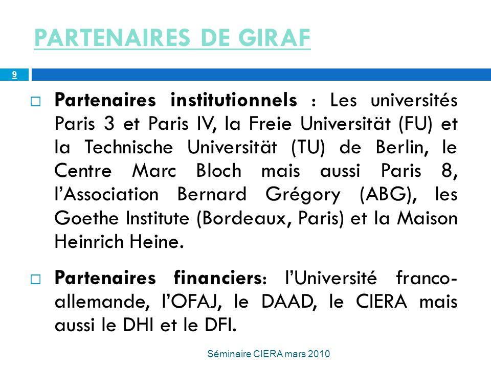 PARTENAIRES DE GIRAF Partenaires institutionnels : Les universités Paris 3 et Paris IV, la Freie Universität (FU) et la Technische Universität (TU) de Berlin, le Centre Marc Bloch mais aussi Paris 8, lAssociation Bernard Grégory (ABG), les Goethe Institute (Bordeaux, Paris) et la Maison Heinrich Heine.
