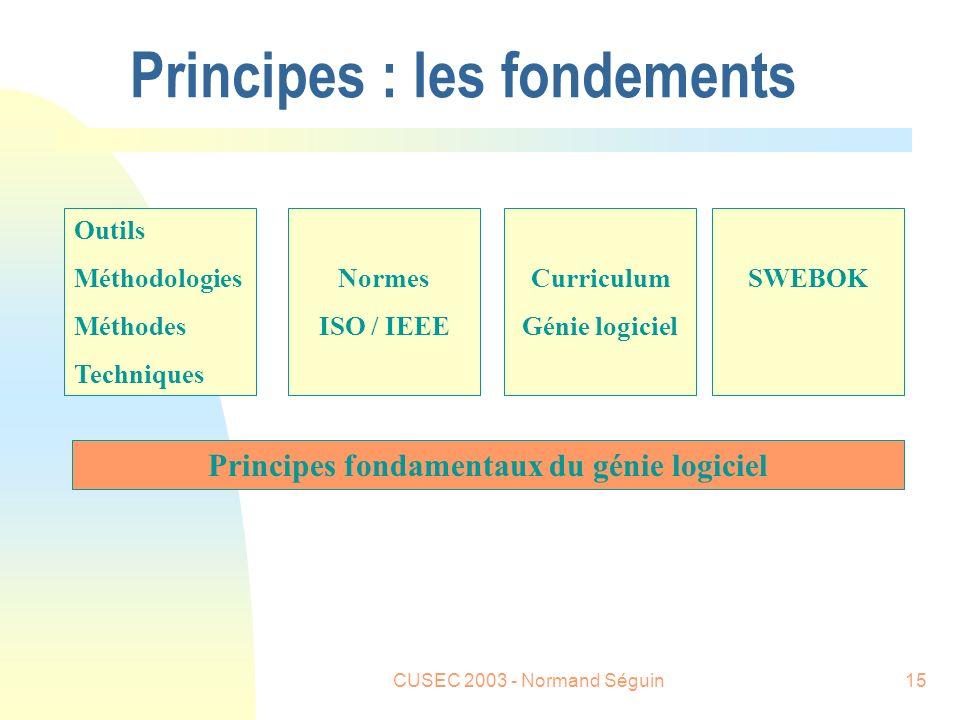 CUSEC 2003 - Normand Séguin15 Principes : les fondements Principes fondamentaux du génie logiciel Outils Méthodologies Méthodes Techniques Normes ISO / IEEE Curriculum Génie logiciel SWEBOK