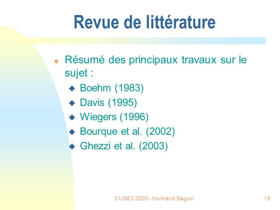 CUSEC 2003 - Normand Séguin19 Revue de littérature n Résumé des principaux travaux sur le sujet : u Boehm (1983) u Davis (1995) u Wiegers (1996) u Bourque et al.