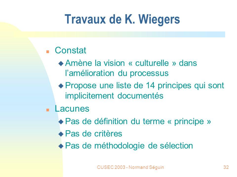 CUSEC 2003 - Normand Séguin32 Travaux de K.
