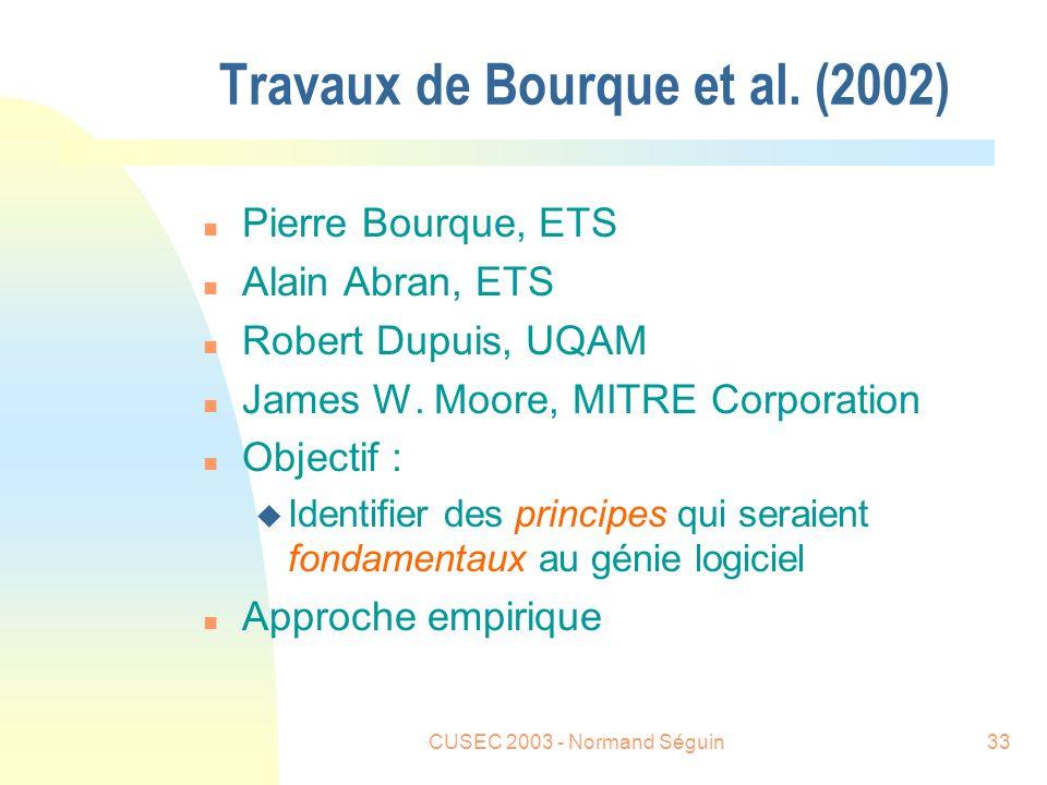 CUSEC 2003 - Normand Séguin33 Travaux de Bourque et al.