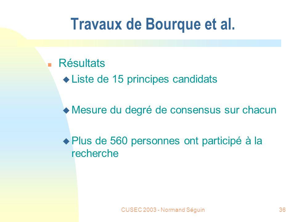 CUSEC 2003 - Normand Séguin36 Travaux de Bourque et al.
