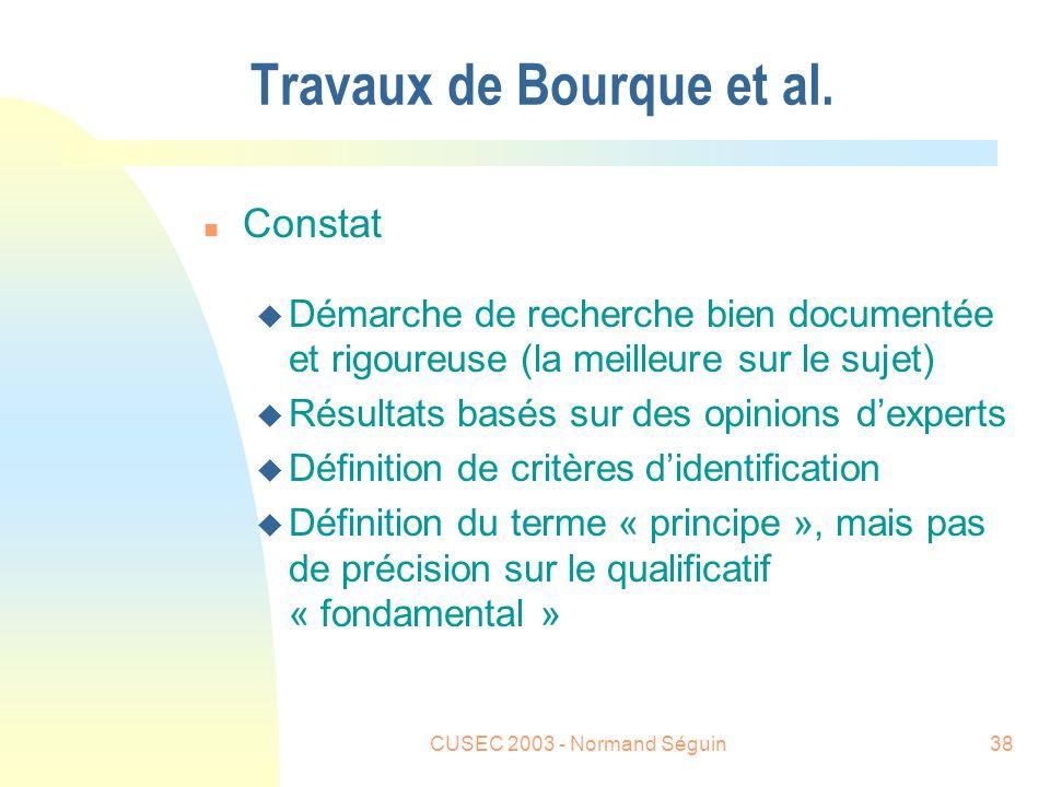 CUSEC 2003 - Normand Séguin38 Travaux de Bourque et al.