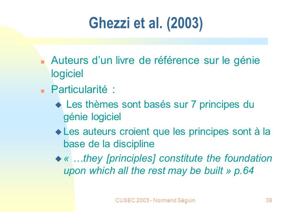 CUSEC 2003 - Normand Séguin39 Ghezzi et al.