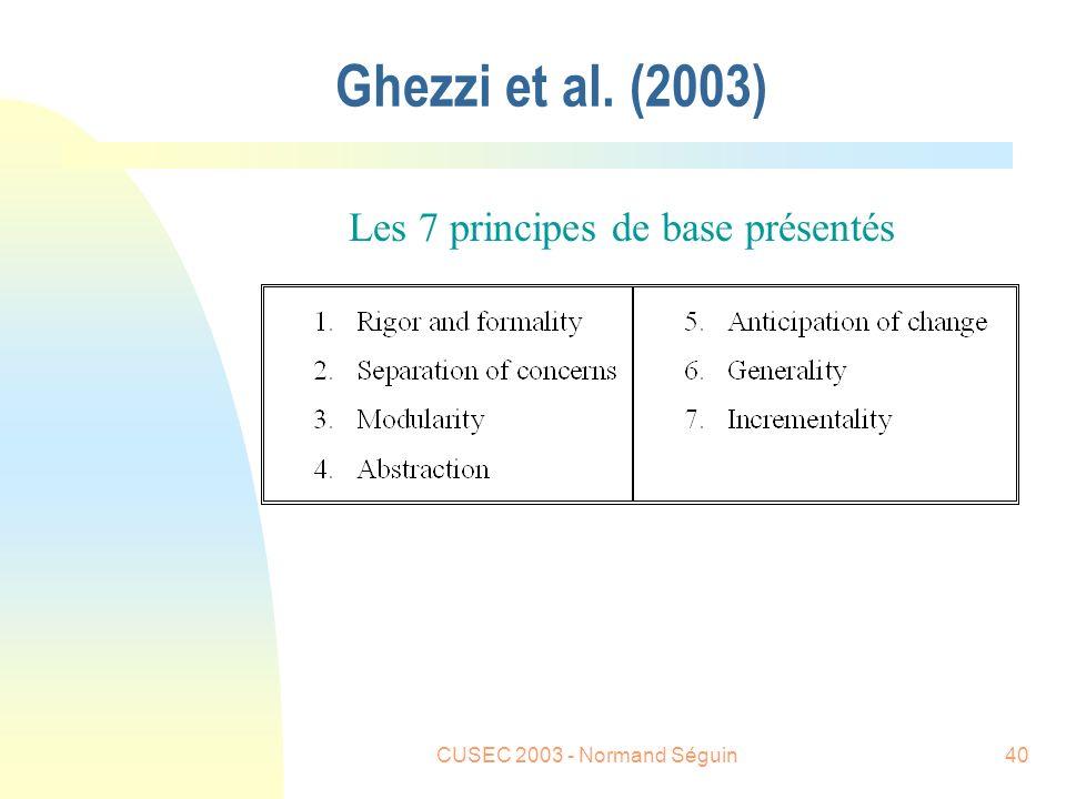 CUSEC 2003 - Normand Séguin40 Ghezzi et al. (2003) Les 7 principes de base présentés