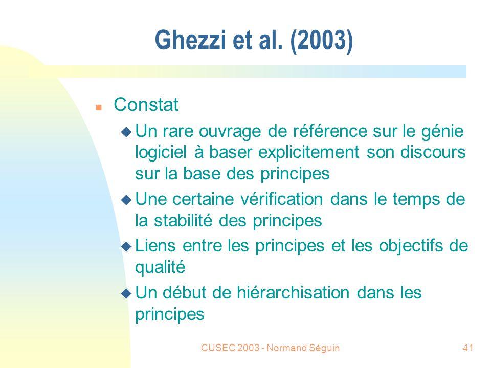 CUSEC 2003 - Normand Séguin41 Ghezzi et al.