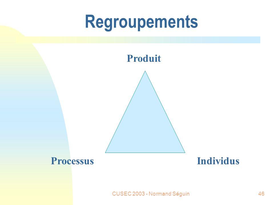 CUSEC 2003 - Normand Séguin46 Regroupements Produit ProcessusIndividus
