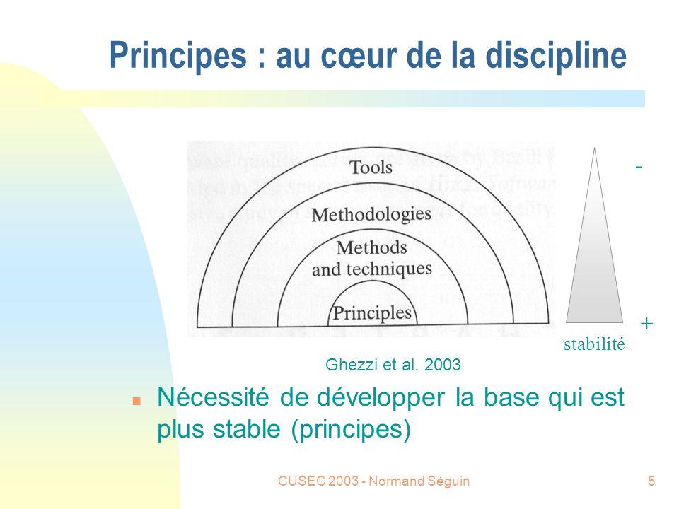 CUSEC 2003 - Normand Séguin5 Principes : au cœur de la discipline Ghezzi et al.
