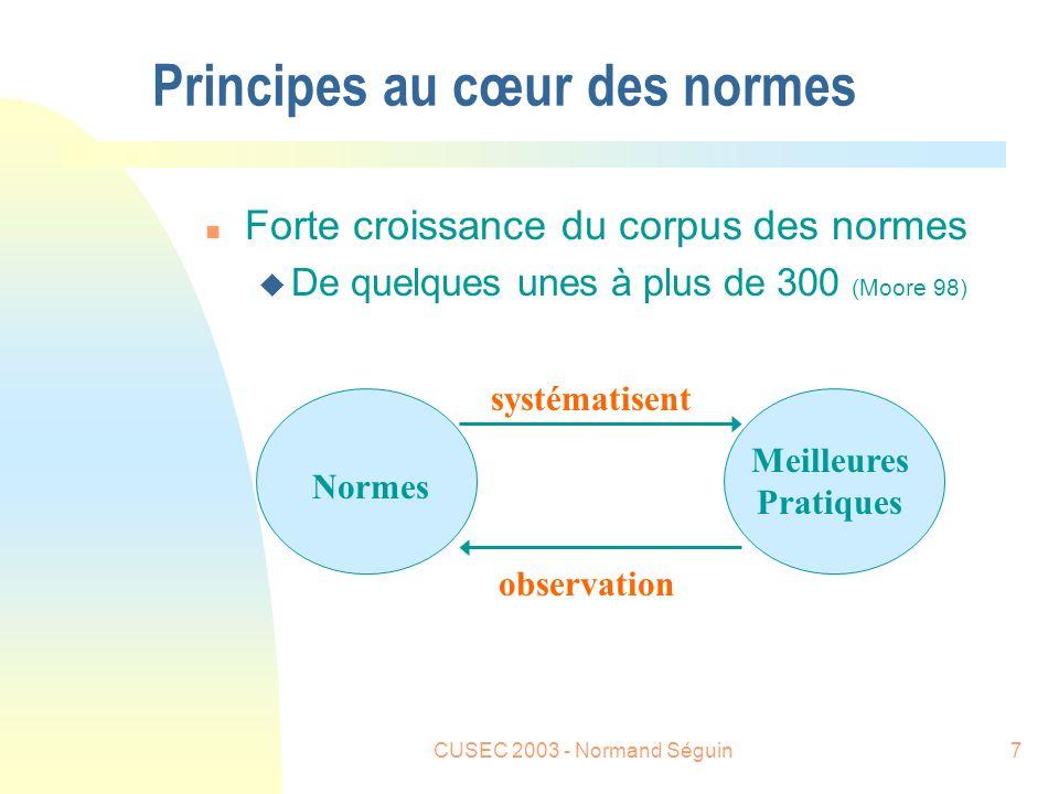 CUSEC 2003 - Normand Séguin7 Principes au cœur des normes n Forte croissance du corpus des normes u De quelques unes à plus de 300 (Moore 98) Normes Meilleures Pratiques observation systématisent