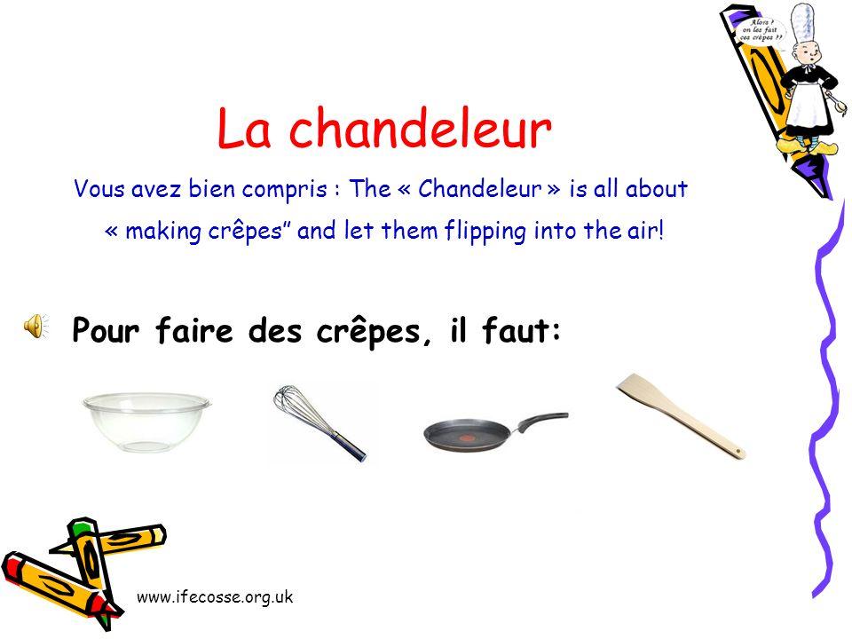 Aujourd hui, cest le 2 février. En France, on fête la chandeleur. A la chandeleur, on fait des crêpes! Et hop!
