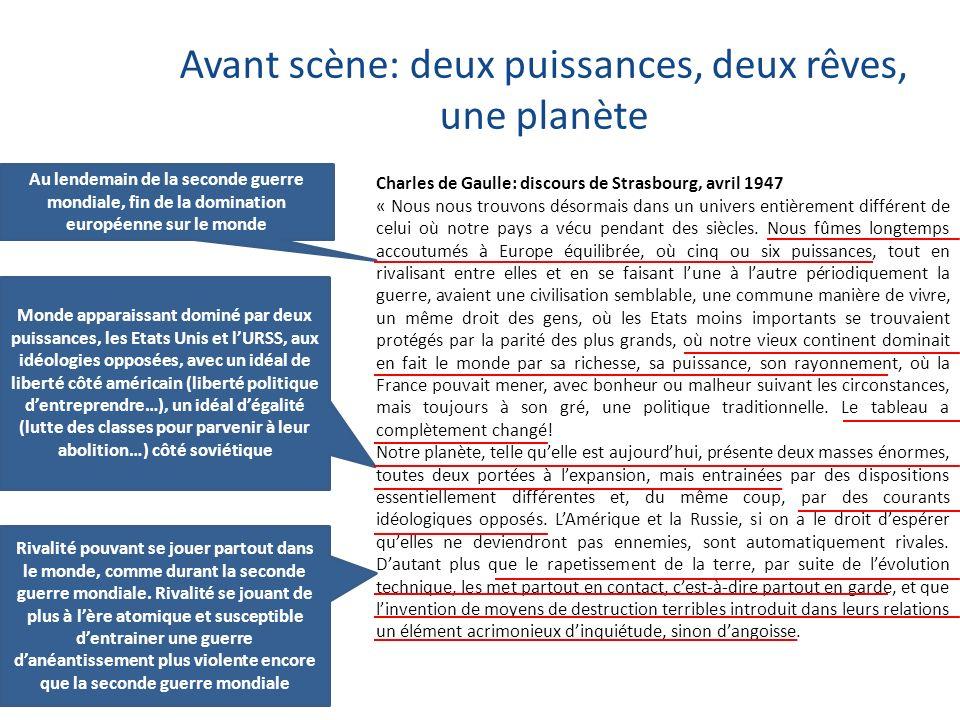 Avant scène: deux puissances, deux rêves, une planète Charles de Gaulle: discours de Strasbourg, avril 1947 « Nous nous trouvons désormais dans un uni