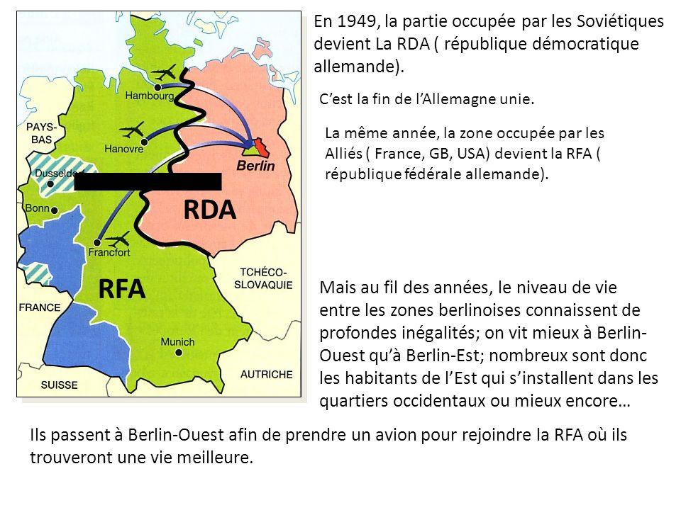 En 1949, la partie occupée par les Soviétiques devient La RDA ( république démocratique allemande). Cest la fin de lAllemagne unie. RDA La même année,