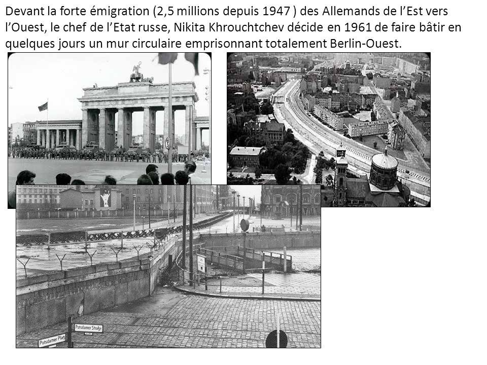 Devant la forte émigration (2,5 millions depuis 1947 ) des Allemands de lEst vers lOuest, le chef de lEtat russe, Nikita Khrouchtchev décide en 1961 d