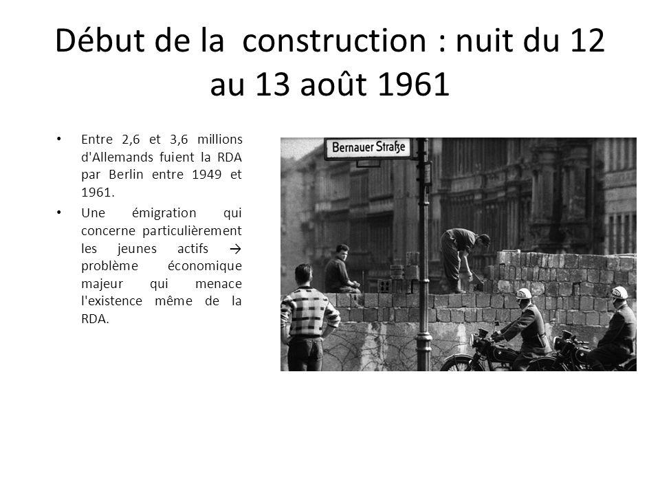 Début de la construction : nuit du 12 au 13 août 1961 Entre 2,6 et 3,6 millions d'Allemands fuient la RDA par Berlin entre 1949 et 1961. Une émigratio