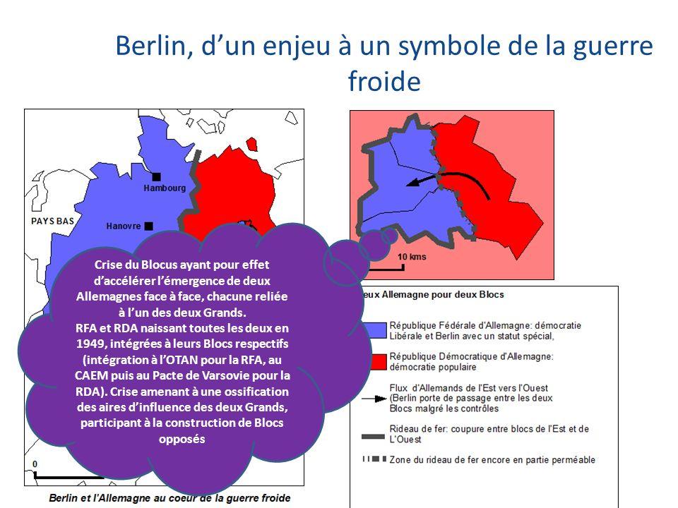 Crise du Blocus ayant pour effet daccélérer lémergence de deux Allemagnes face à face, chacune reliée à lun des deux Grands. RFA et RDA naissant toute