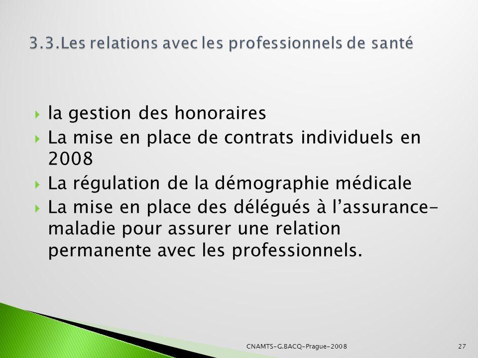 la gestion des honoraires La mise en place de contrats individuels en 2008 La régulation de la démographie médicale La mise en place des délégués à la