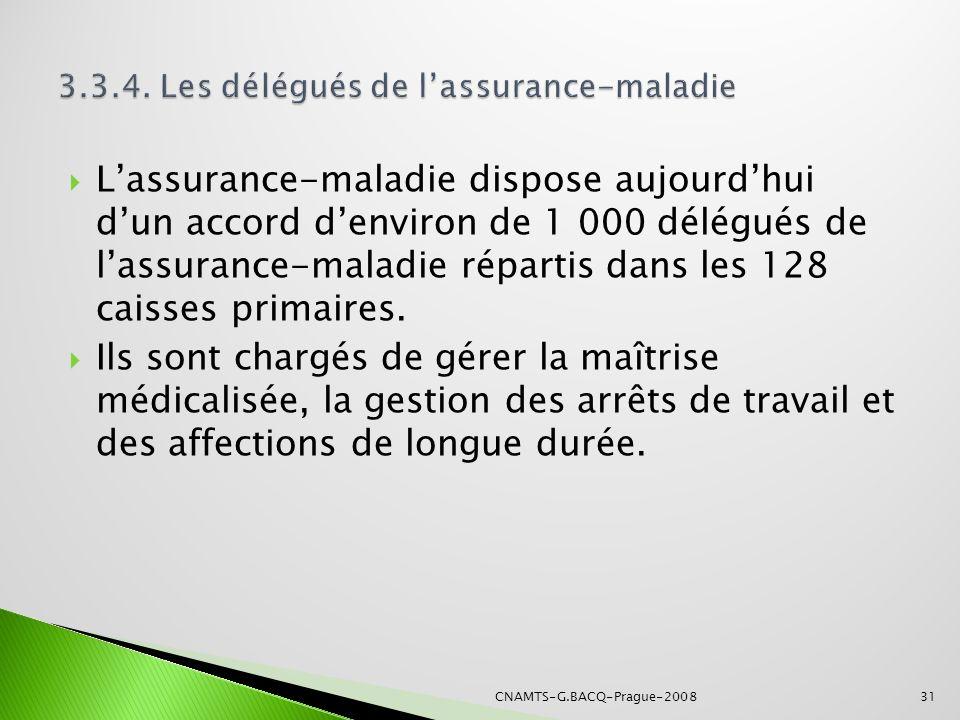 Lassurance-maladie dispose aujourdhui dun accord denviron de 1 000 délégués de lassurance-maladie répartis dans les 128 caisses primaires. Ils sont ch