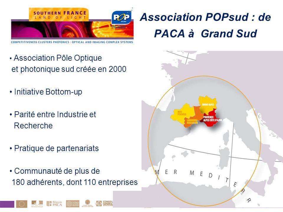 Association POPsud : de PACA à Grand Sud Association Pôle Optique et photonique sud créée en 2000 Initiative Bottom-up Parité entre Industrie et Reche