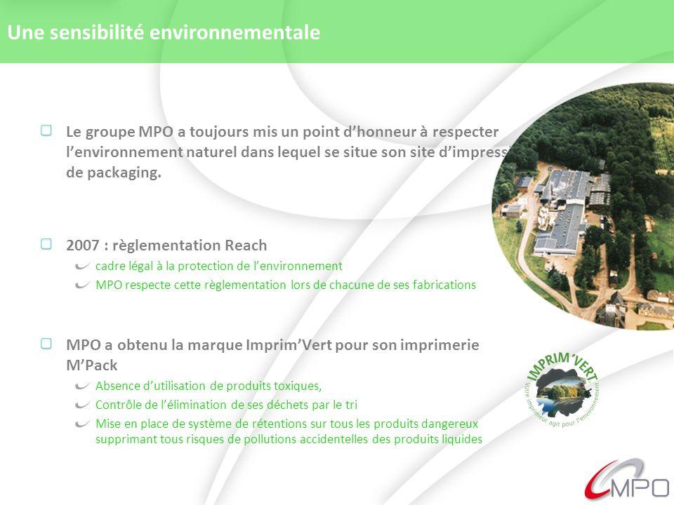 Une sensibilité environnementale Le groupe MPO a toujours mis un point dhonneur à respecter lenvironnement naturel dans lequel se situe son site dimpression de packaging.