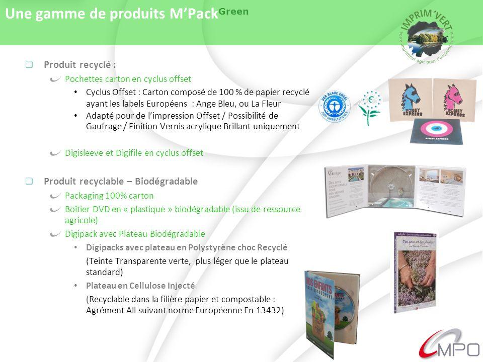 Une gamme de produits MPack Green Produit recyclé : Pochettes carton en cyclus offset Cyclus Offset : Carton composé de 100 % de papier recyclé ayant les labels Européens : Ange Bleu, ou La Fleur Adapté pour de limpression Offset / Possibilité de Gaufrage / Finition Vernis acrylique Brillant uniquement Digisleeve et Digifile en cyclus offset Produit recyclable – Biodégradable Packaging 100% carton Boîtier DVD en « plastique » biodégradable (issu de ressource agricole) Digipack avec Plateau Biodégradable Digipacks avec plateau en Polystyrène choc Recyclé (Teinte Transparente verte, plus léger que le plateau standard) Plateau en Cellulose Injecté (Recyclable dans la filière papier et compostable : Agrément All suivant norme Européenne En 13432)