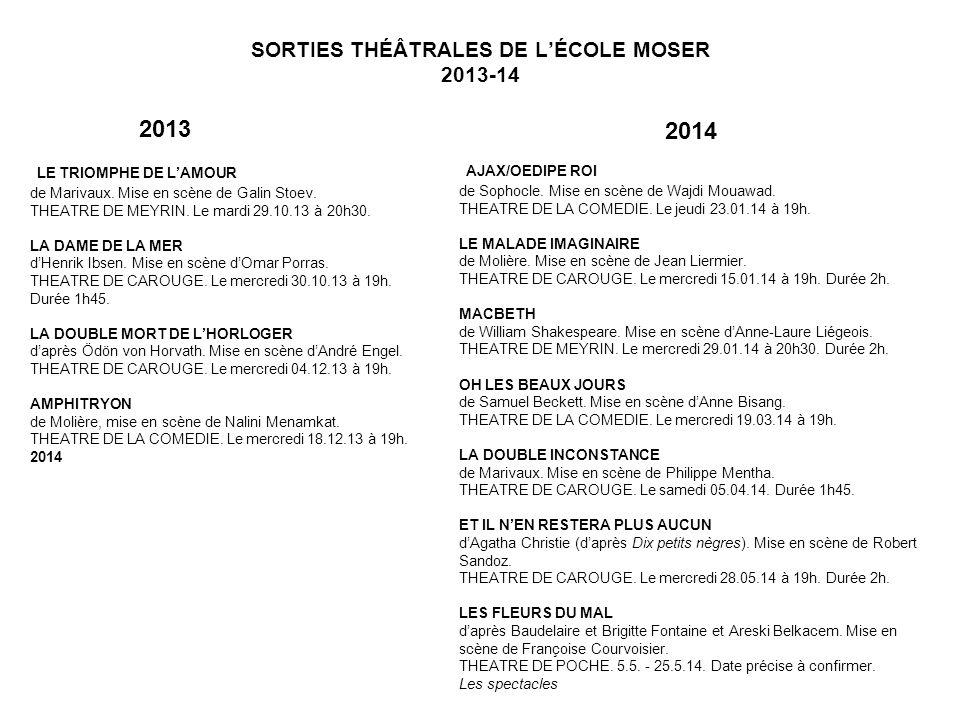 SORTIES THÉÂTRALES DE LÉCOLE MOSER 2013-14 LE TRIOMPHE DE LAMOUR de Marivaux.