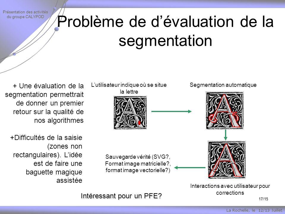 La Rochelle, le 12/13 Juillet Présentation des activités du groupe CALYPOD 17/15 Problème de dévaluation de la segmentation Intéressant pour un PFE.