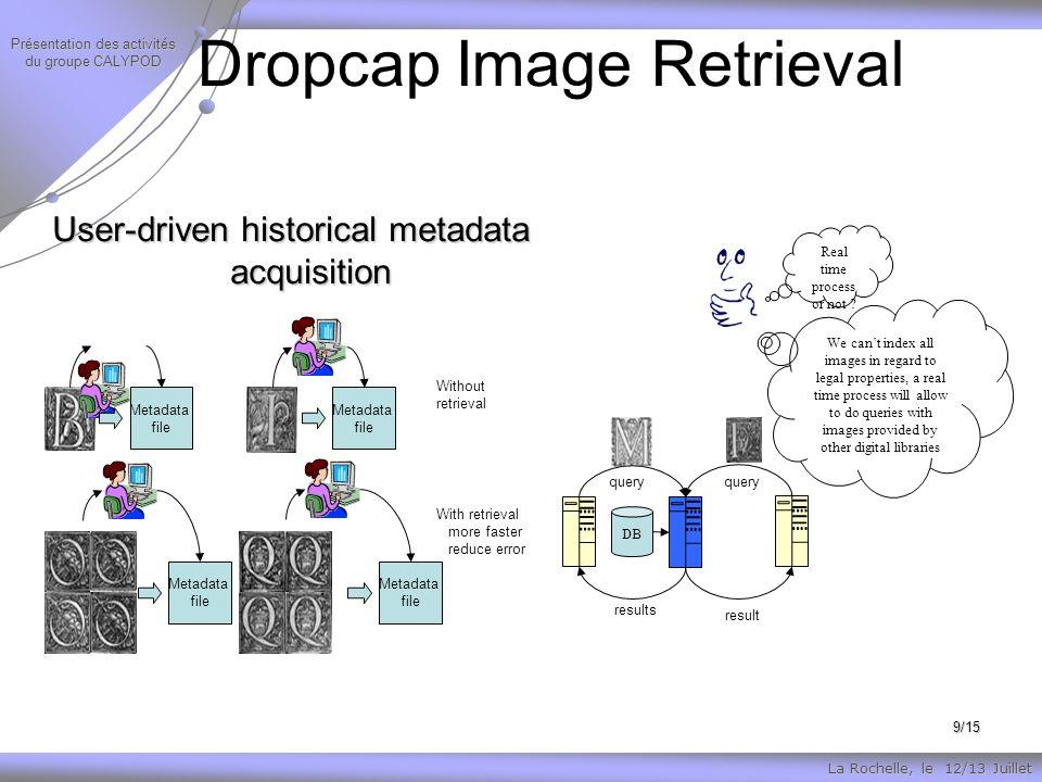 La Rochelle, le 12/13 Juillet Présentation des activités du groupe CALYPOD 9/15 Dropcap Image Retrieval Real time process or not .