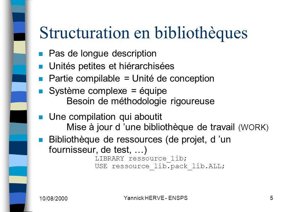 10/08/2000 Yannick HERVE - ENSPS6 Structuration en bibliothèque : Les unités de conception n Modèle : ENTITY (UC) + ARCHITECTURE (UC) plusieurs ARCHITECTURE possibles par ENTITY n Code souvent utilisé et partagé : paquetage PACKAGE (UC) + PACKAGE BODY (UC) vue ext.