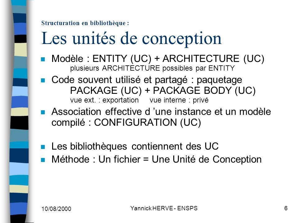 10/08/2000 Yannick HERVE - ENSPS17 Les 6 classes dobjets n Les classes d objets (transport de l information) CONSTANT (valeur fixe connue à l élaboration) VARIABLE (séquentiel / dynamique) modifiée par affectation ( := ) SIGNAL (concurrent / statique) modifié par affectation ( <= ) TERMINAL permet les connexions analogiques branch/free QUANTITY participe aux simult.stat.