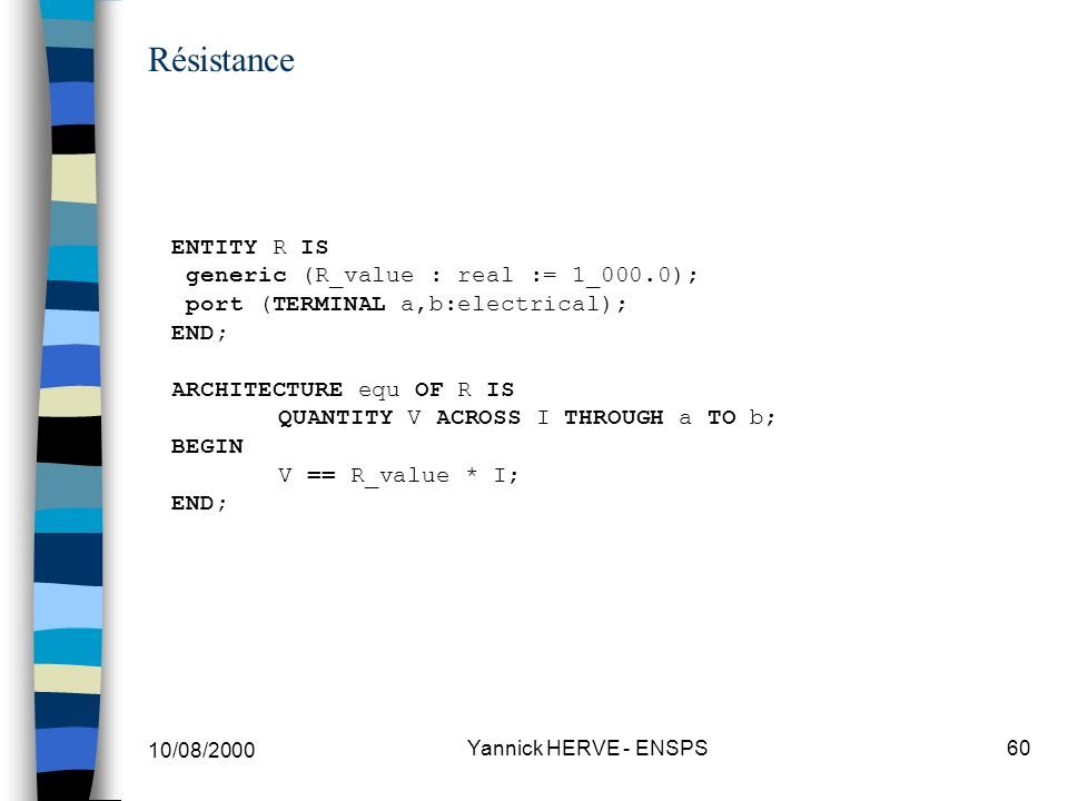 10/08/2000 Yannick HERVE - ENSPS60 Résistance ENTITY R IS generic (R_value : real := 1_000.0); port (TERMINAL a,b:electrical); END; ARCHITECTURE equ O