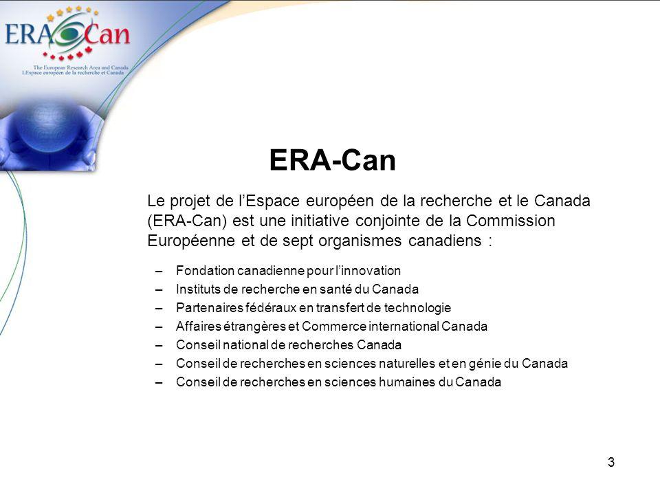 3 ERA-Can Le projet de lEspace européen de la recherche et le Canada (ERA-Can) est une initiative conjointe de la Commission Européenne et de sept organismes canadiens : –Fondation canadienne pour linnovation –Instituts de recherche en santé du Canada –Partenaires fédéraux en transfert de technologie –Affaires étrangères et Commerce international Canada –Conseil national de recherches Canada –Conseil de recherches en sciences naturelles et en génie du Canada –Conseil de recherches en sciences humaines du Canada