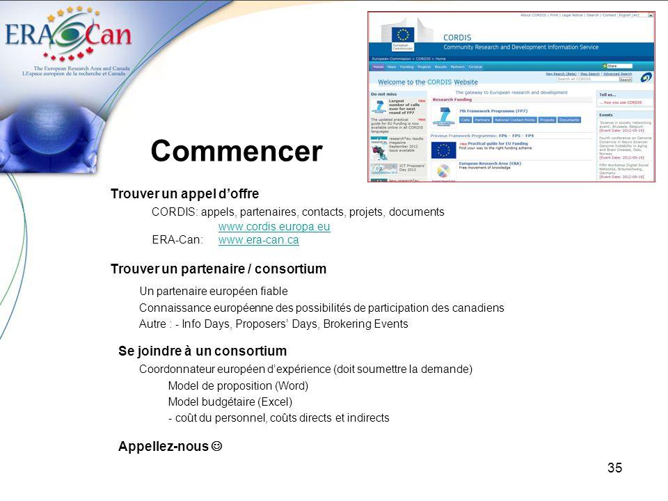 35 Commencer Trouver un appel doffre CORDIS: appels, partenaires, contacts, projets, documents www.cordis.europa.eu ERA-Can: www.era-can.cawww.era-can.ca Trouver un partenaire / consortium Un partenaire européen fiable Connaissance européenne des possibilités de participation des canadiens Autre : - Info Days, Proposers Days, Brokering Events Se joindre à un consortium Coordonnateur européen dexpérience (doit soumettre la demande) Model de proposition (Word) Model budgétaire (Excel) - coût du personnel, coûts directs et indirects Appellez-nous
