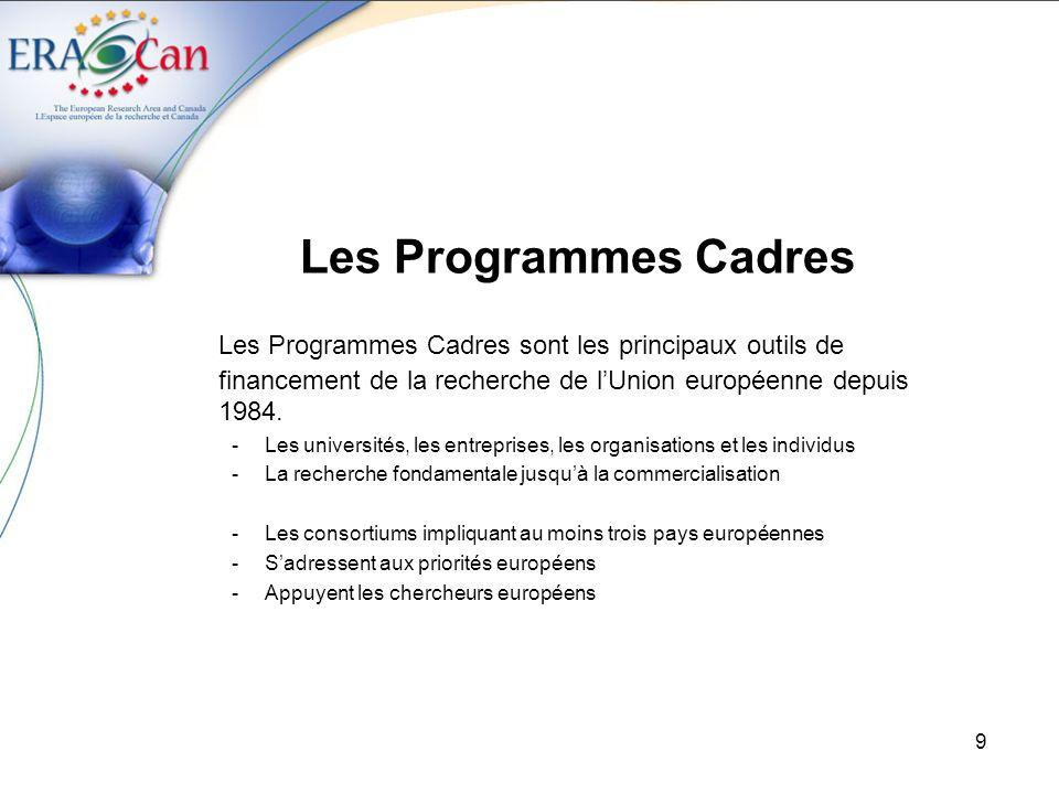 9 Les Programmes Cadres Les Programmes Cadres sont les principaux outils de financement de la recherche de lUnion européenne depuis 1984.