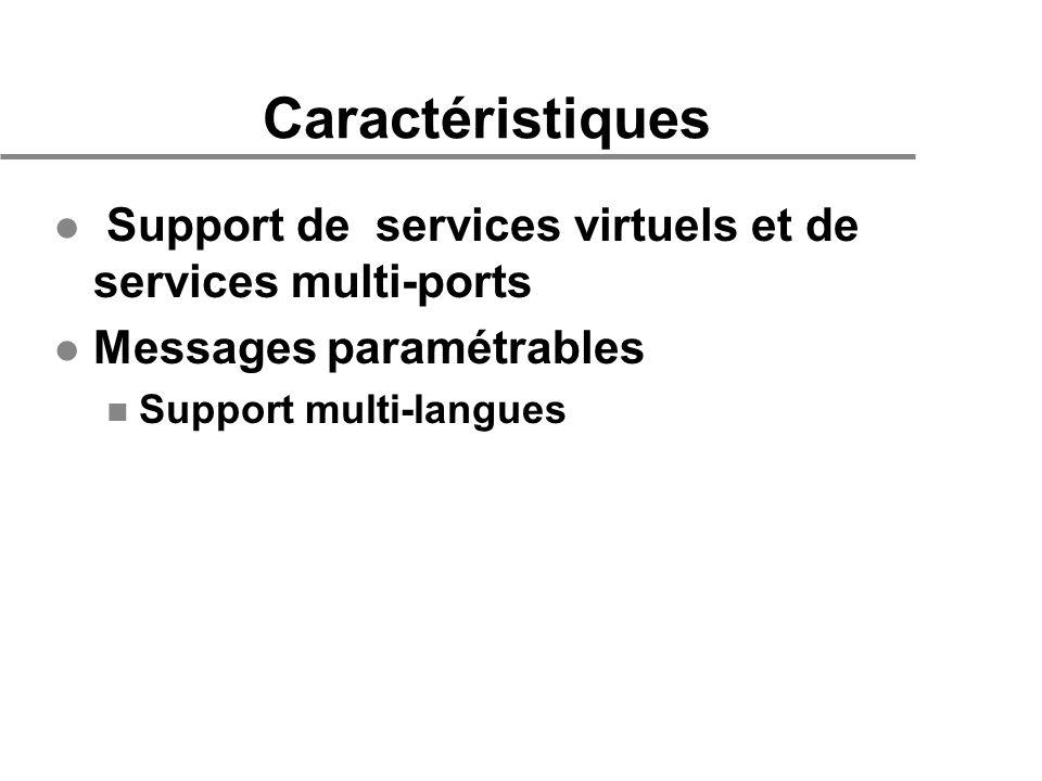 Caractéristiques l Support de services virtuels et de services multi-ports l Messages paramétrables n Support multi-langues
