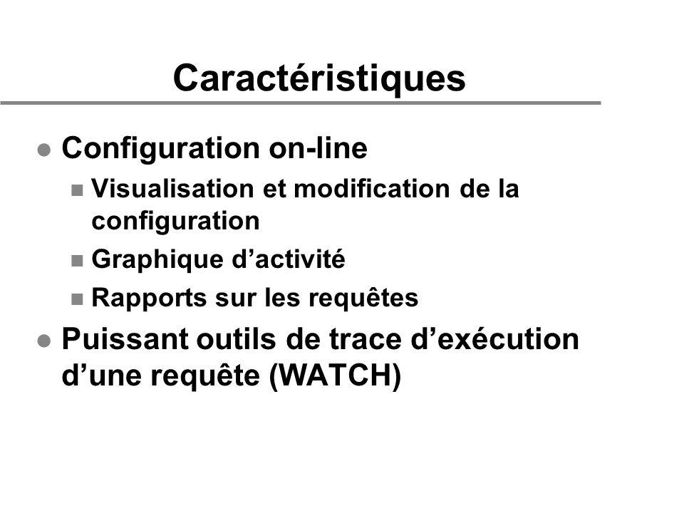Caractéristiques l Configuration on-line n Visualisation et modification de la configuration n Graphique dactivité n Rapports sur les requêtes l Puissant outils de trace dexécution dune requête (WATCH)