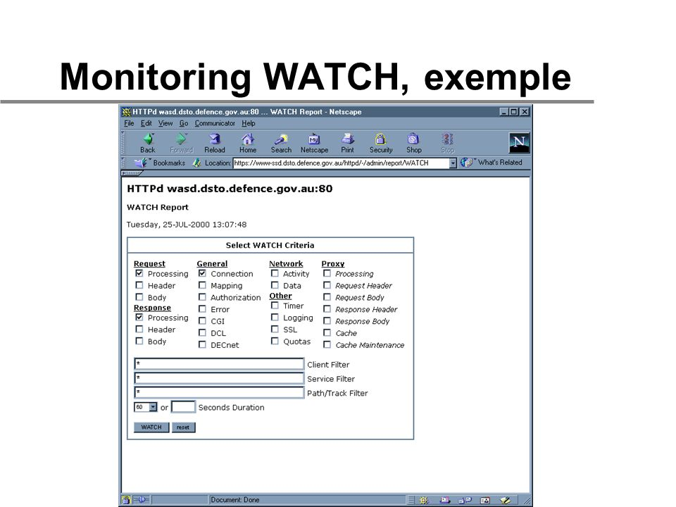 Monitoring WATCH, exemple