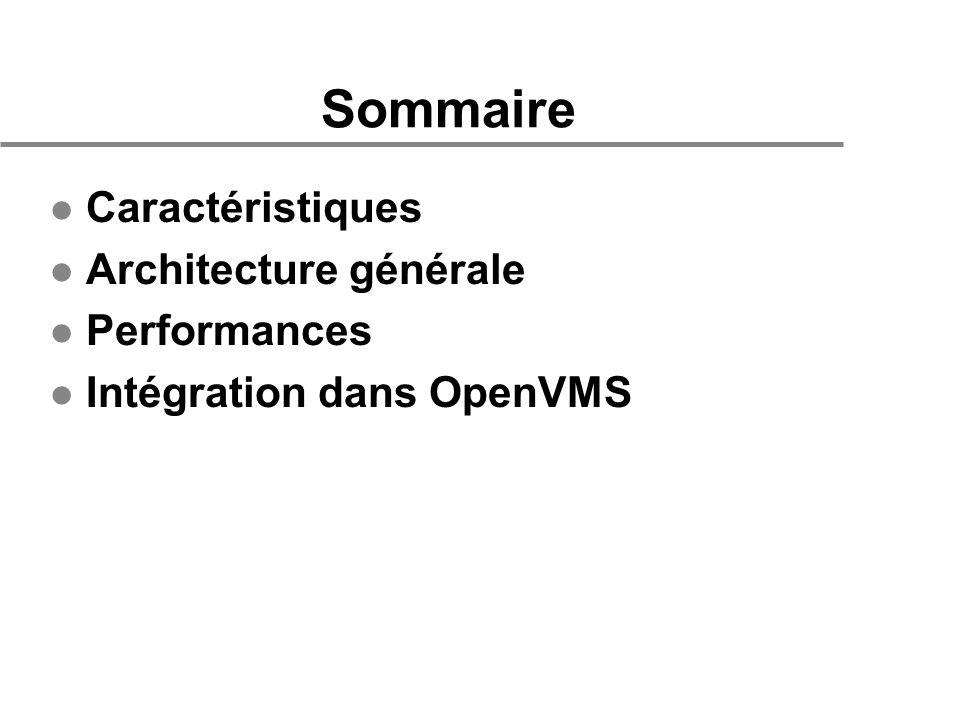 Sommaire l Caractéristiques l Architecture générale l Performances l Intégration dans OpenVMS