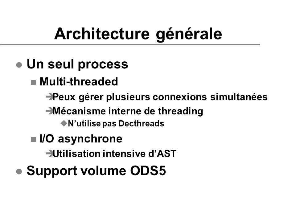 Architecture générale l Un seul process n Multi-threaded èPeux gérer plusieurs connexions simultanées èMécanisme interne de threading uNutilise pas De