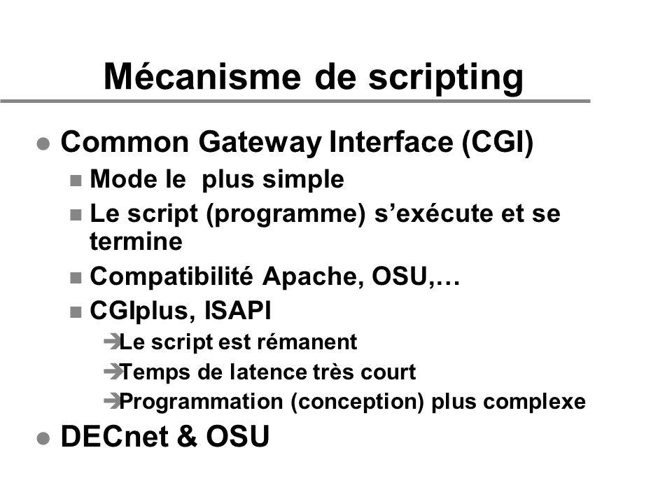 Mécanisme de scripting l Common Gateway Interface (CGI) n Mode le plus simple n Le script (programme) sexécute et se termine n Compatibilité Apache, O