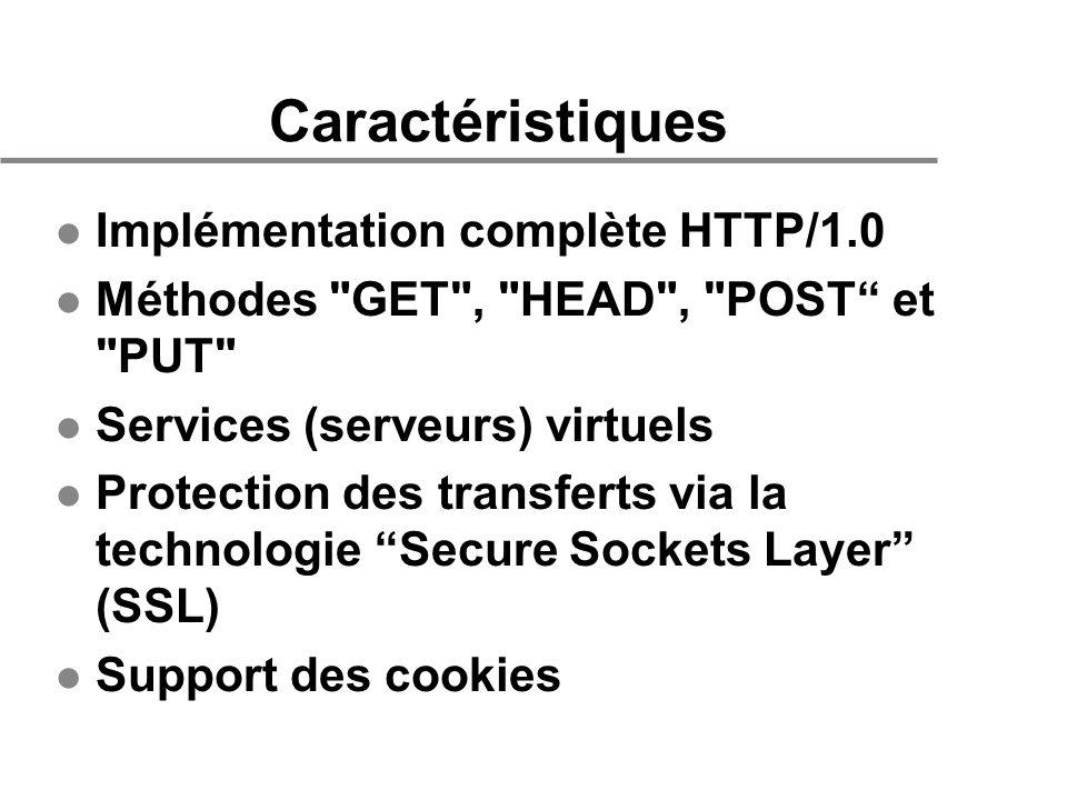 Caractéristiques l Implémentation complète HTTP/1.0 l Méthodes