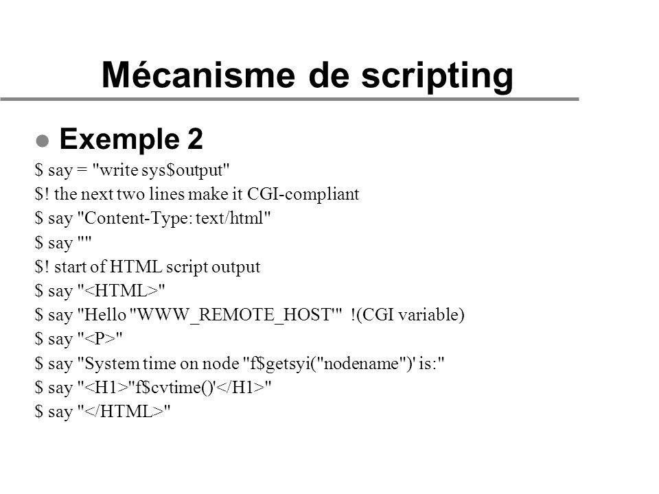 Mécanisme de scripting l Exemple 2 $ say = write sys$output $.