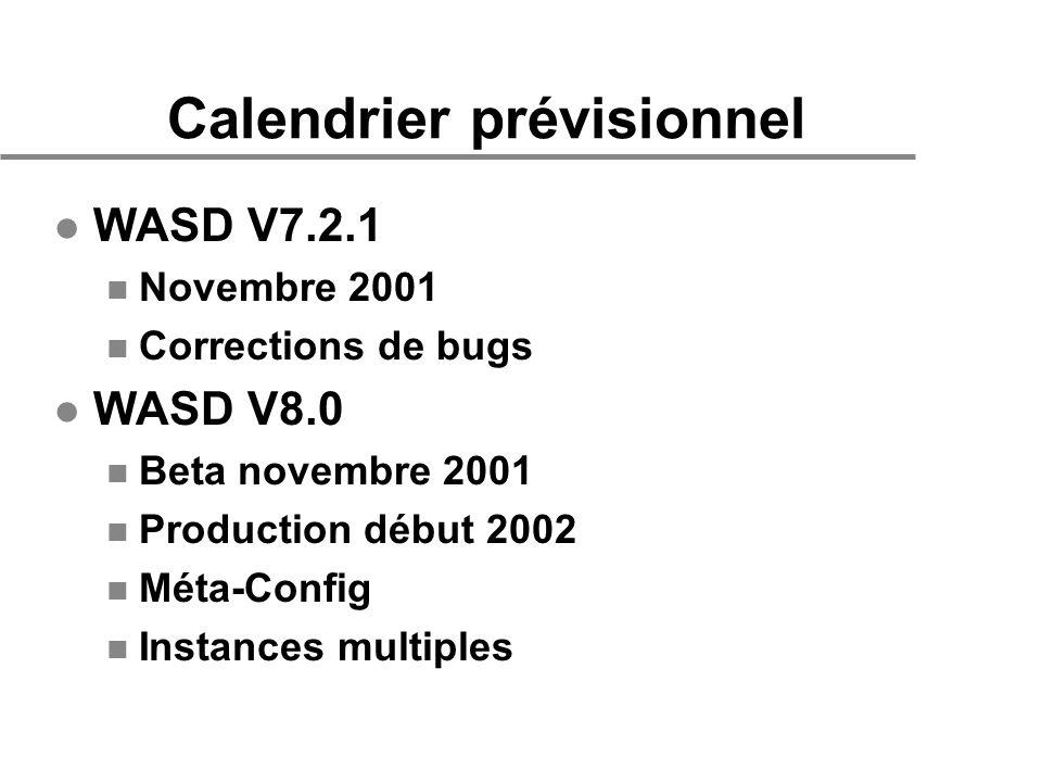 Calendrier prévisionnel l WASD V7.2.1 n Novembre 2001 n Corrections de bugs l WASD V8.0 n Beta novembre 2001 n Production début 2002 n Méta-Config n Instances multiples